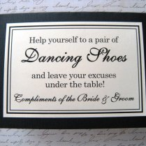 5x7 Tent Folded Wedding Dancing Shoes Sign In By Weddingsbysusan