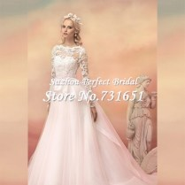Aliexpress Com Buy 2015 Vintage Blush Pink Long Sleeves Bridal
