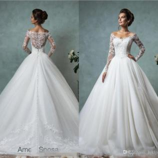 Amelia Sposa Long Sleeves Wedding Dresses Lace Bridal Gowns Plus