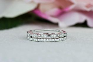 Art Deco Wedding Band And Half Eternity Band, Stacking Ring Set