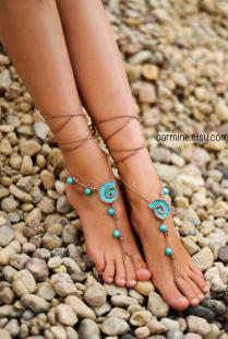 Beach Wedding Seashells Tan And Aqua Crochet Bridal Barefoot