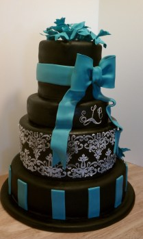 Black, White, And Teal Wedding Cake