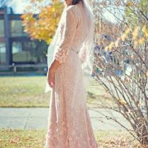 Blush Lace Boho Wedding Dress With Sleeves Open Ballerina Back And