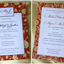 Burnt Orange & Pale Yellow Floral Border Wedding Rehearsal Dinner