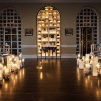 Candles Lining Wedding Ceremony Aisle
