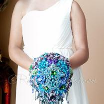Cascading Blue Teal Peacock Wedding Brooch Bouquet Peacock Crown