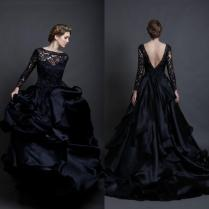 Charming Black Satin Wedding Dresses Long Sleeve Lace Illusion