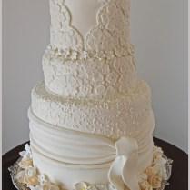 Custom Wedding Cake Inspired By Designer Wedding Gown