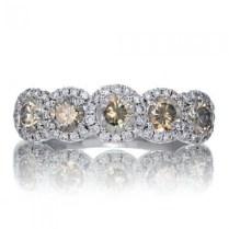 Diamond Five Stone Halo Anniversary Ring Wedding Band