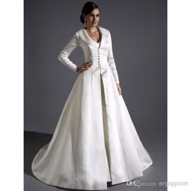 Discount Bridal Satin Full Length Coats,gracie Bleu Long Sleeves A
