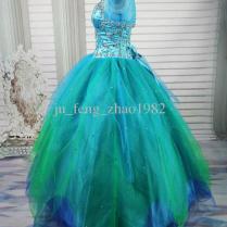 Discount Green Blue Sweetheart Beaded Ball Gown Wedding Dresses