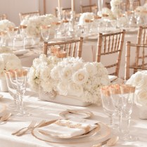 Elegant Ivory Wedding Centerpieces With Rose Gold Table Accents