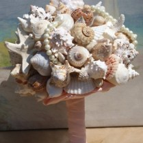 Extra Large Seashell And Starfish Wedding Bouquet Boutonierre
