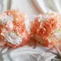 Fabric Flowers Wedding Bouquet Peach Cream Flowers Roses, Satin