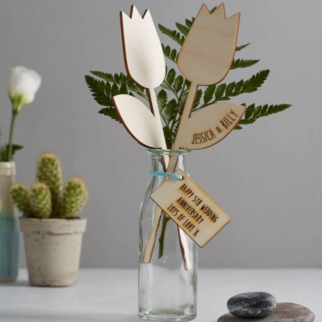 Fifth Wedding Anniversary Wooden Flowers By We Are Scamp