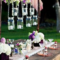 Garden Wedding Decors ♥ Glass Hanging Mason Jar And Flower