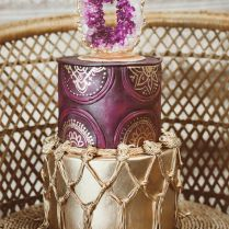 Geode Purple And Gold Wedding Cake