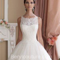 Glamour Ball Gown Sleeveless Vintage Lace Glitter Tulle Wedding Dress