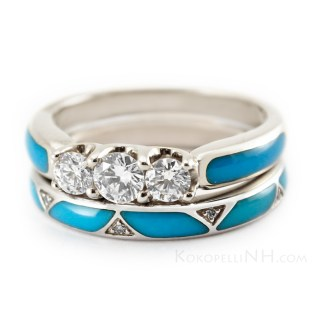 Gold And Turquoise Wedding Rings