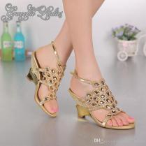 Gold Wedge Heel 8cm Rhinestones Wedding Sandal Shoes Crystals Open