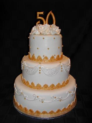 Golden Wedding Anniversary Adorable 50th Wedding Anniversary Cake