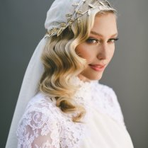 Grecian Veil, Juliet Cap Veil, Wedding Veil, Gold Leaf Halo, Gold