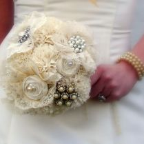 Hand Crafted Brooch Bridal Bouquet, Jewelry Bouquet, Fabric Flower