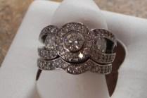 Handmade Diamond Halo Engagement Ring And Wedding Band