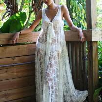 Honeymoon Wedding Dress Bikini Cover Ups Lace Maxi Swimwear Beach