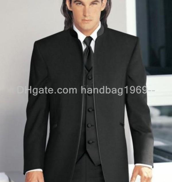 Hot Sale Black Groom Tuxedos Stand Collar Best Man Suits Wedding