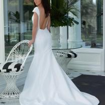 Ivory Satin Cap Sleeves Lace Bodice Sexy Backless Mermaid Wedding