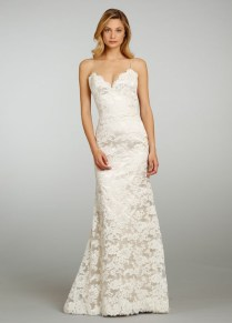 Lace Sheath Wedding Dress With Spaghetti Straps