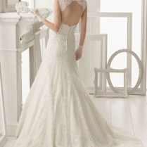 Lace Sleeveless A Line Scalloped V Neck Keyhole Back Wedding Dress
