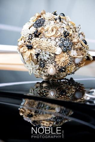 Lillybuds Decadence Gold And Black Wedding Bouquet Of Brooches