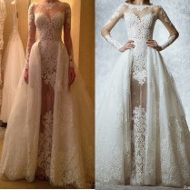 Luxury A Line See Through Detachable Skirt Wedding Dresses Lace