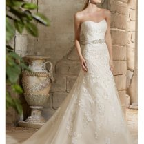 Mori Lee 2781 Strapless Lace Wedding Dress With Crystal Belt Ivory