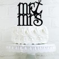 Mr & Mrs Anchor Wedding Cake Topper Or Sign Perfect For Nautical