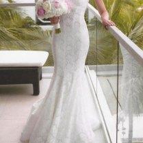 Patricia Customized Lace Overlay Wedding Dress With Spaghetti