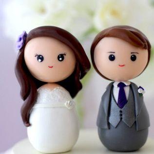 Personalized Custom Wedding Cake Topper Kokeshi Figrurines