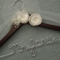 Personalized Wedding Hanger, Ivory Flowers, Bridal Hanger, Wedding