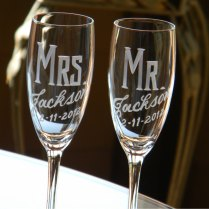 Personalized Wedding Mr & Mrs Champagne Flutes Set By Glassgirljen