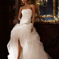 Popular High Low Ruffle Skirt Wedding Dress