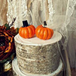 Pumpkin Fall Wedding Cake Topper Fall Themed Wedding Bride And
