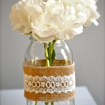 Rustic Burlap And Lace Vase, Rustic Wedding Vase, Shabby Chic Home