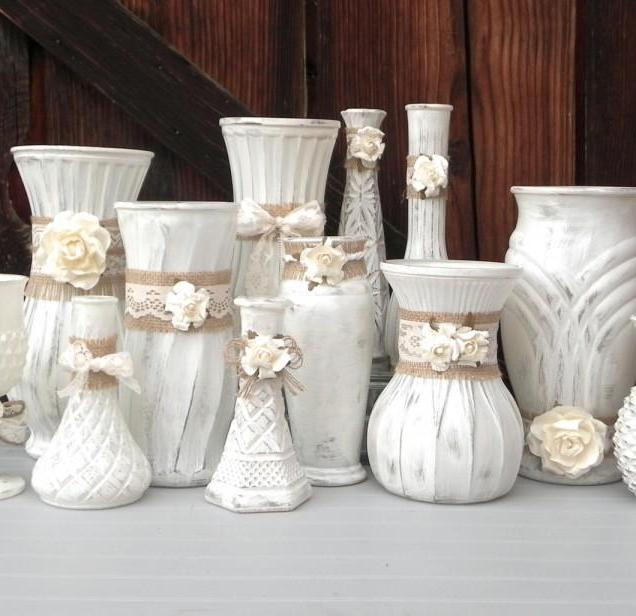 Shabby Chic Burlap And Lace, Cream White Vase Collection, Vases