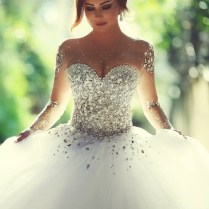 Sheer Sweetheart Crystal Ball Gown Wedding Dresses Lace