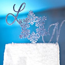 Snowflake Monogram Wedding Cake Topper