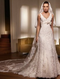 Strapless Chiffon Formal Gown Embroidery Empire Wedding Dress H033