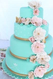 Tiffany Blue Wedding Cake With Fantasy Flowers