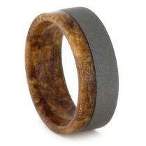 Titanium And Wood Ring, Spalted Maple Wood Inner Sleeve, Mens